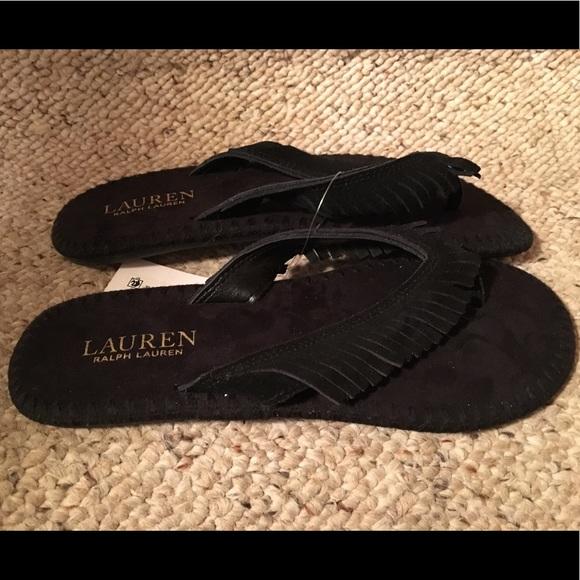 c0f621f79 Ralph Lauren Black Suede Flip Flops